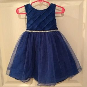 Blue formal dress with silver shrug